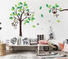 Monkey Tree Wall Art Stickers Kids Nursery Vinyl Decal removable large 190x260cm