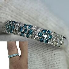 Ring hand made Valentine Offer Platinum900 Natural Blue White Diamond Wedding