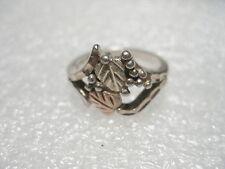 Vintage Sterling Silver Black Hills Gold Ring, (Leaf Motiff), size 6, 3.30 gr.