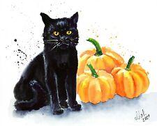 Halloween Cat Painting Pumpkin Watercolor Black Cat Art Halloween Watercolor