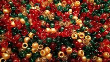 100 Festive / Christmas Mix Pony Beads 9x6mm Barrel Shape BUY 3 FOR 2