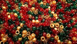 100 Festive / Christmas Mix Pony Beads 9x6mm Barrel Shape BUY 3 FOR 2