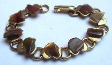 bracelet bijou vintage couleur or maillon coeur pierres naturelles marrons 3393