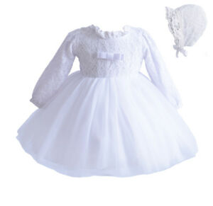 Cinda Long Sleeve Lace Christening Gown and Bonnet White Ivory 0-3 to 18-24 M