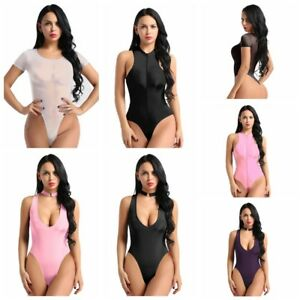 Womens Sexy See Through Sheer Bodycon Romper Jumpsuit Bodysuit Lingerie Playsuit