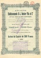 Etablissements H.-L. Becker Fils et Cie SA, accion, 1926 (Siege: Bruxelles)