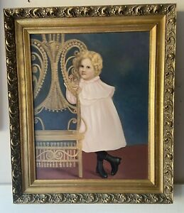 Rare Vintage Little Girl Painting on Board