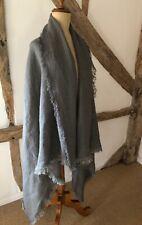 Large Linen Shawl,Oversized Scarf, Slate Grey, Rustic Stonewashed. 100% Linen.