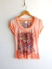 ALBERTO MAKALI~Screened Roses & Beads Stretchie Knit Hippie Tee Top~S