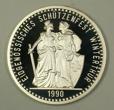 1990 Winterthur Switzerland 50 Fr Francs Proof Silver Coin Swiss Shooting Taler