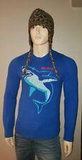 Hollister sharknado blue sweater slim fit mens M pull over shark