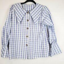 Mill Studio Women's Peasant boho Plaid Blouse Size Small Button Front EUC