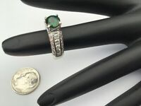 Stunning 14K White Gold, 2.33 CTW Green Tsavorite & Diamonds Ring Sz 5.5