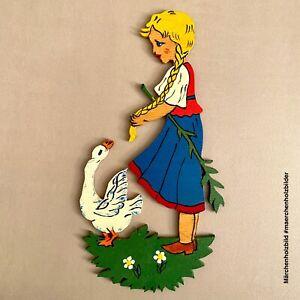 MÄRCHENHOLZBILD 1960er Laubsägearbeit: Zopf-Mädchen 21cm Vintage Deko Kind 🎁