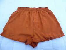 Burnt Orange Satin Boxer Shorts  in X / Large  with  Free Postage