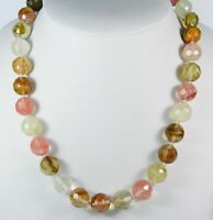 10mm Faceted Watermelon Tourmaline Round Beads Gems Necklace 18""