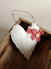 Vintage White Metal Hanging Heart Red Gingham Ribbon Shabby Chic Home Gift