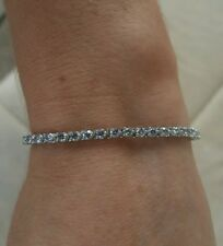 4 ct E SI2/3 natural round diamond classic 3prong tennis bracelet 18k white gold