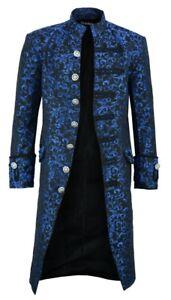 Renaissance Men's Blue Brocade Goth Steampunk Victorian Velvet Frock Coat/USA
