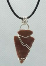 Stone Arrowhead Wire Wrapped Pendant Necklace Handcrafted Artisan Jewelry 7ah22