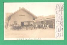 SCARCE 1906 RPPC POSTCARD TRAIN PEOPLE HORSE-CART O. & W. DEPOT MOUNT UPTON, NY