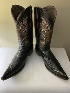 Old Mejico Full Quill Ostrich Handmade Cowboy Boots Size 13 EE