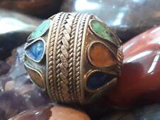 Berber Ethnic Tribal African Bead Vintage Silver & Multicolored Enamel Moroccan