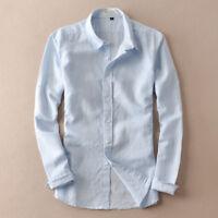 Men's Thin Sunscreen Travel Shirts Linen Cotton Long Sleeve Slim Fit Shirts