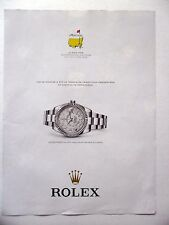 PUBLICITE-ADVERTISING :  ROLEX Oyster Perpetual Sky Dweller AUGUSTA  2014 Golf