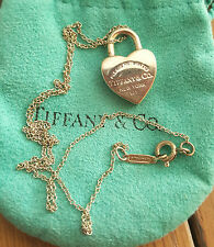 Vintage Please Return to Tiffany Heart Padlock Necklace w/Bag and Box
