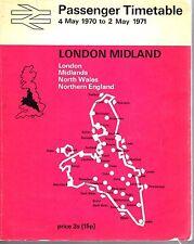 British Rail Passenger Timetable London Midland C/W Network Map 1970 /1971 9585E