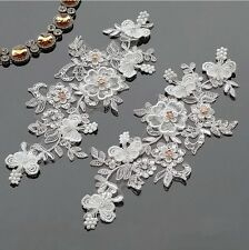 3D Lace Motif Ivory Beaded Crystal Floral Wedding Dress Trimming Sewing Applique