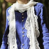Plain Scarf Warm Soft Shawl Wrap Lace Crochet Knit Vintage Winter Lady BL3