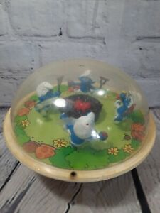 Vintage Smurfs Around A Campfire Toddler Baby Roly Poly Toy Peyo Chimes Sound