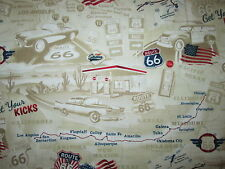 ROUTE 66 HISTORICAL MAP GAS STATION FLAG USA TAN COTTON FABRIC BTHY