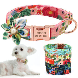 Fancy Floral Personalised Pet Dog Collar Metal ID Name Tags Engraved Pink Blue
