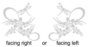Flower Dragonfly Scroll Corner Stained Glass or Etch Effect Window Sticker Decal