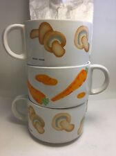 Grant Howard Soup 3 Mugs 1 Carrot 2 Mushroom Painted Vintage