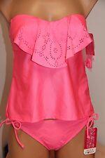 NWT Hula Honey Swimsuit Bikini Tankini 2pc set Sz S Bandeau  Pink