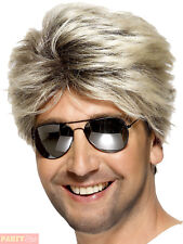 Mens George Michael Wig Adult 80s Street Blonde Short Wham Fancy Dress Accessory