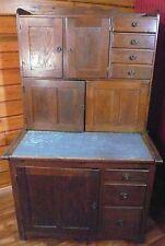 Antique Primitive Farmhouse Oak Hoosier Cabinet, Original Finish, Metal Pull-Out