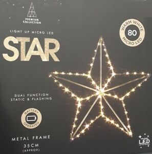 80 Micro Led Warm White Light Up Star With Dual Function Xmas Decoration