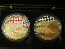 Monaco Monte Carlo Formule 1 Car Palace Medal 40 mm Gold Plated in Caps and Box