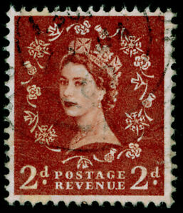 SG605a, 2d light red-brown, USED. Cat £175. GRAPHITE-LINED. WMK ERROR