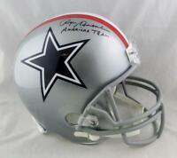 Roger Staubach Signed Cowboys F/S 1976 TB Helmet w/ Insc - Beckett W Auth *Black