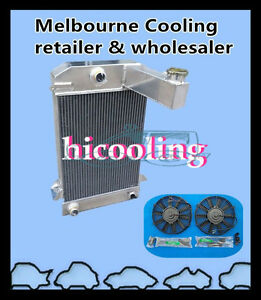 3 Row Aluminum Radiator TR2/TR3/TR3A/TR3B 62mm MT For TRIUMPH + Two Fans