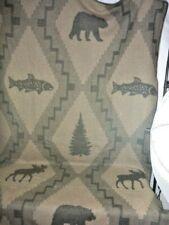 "Woolrich Wool Sherpa Lodge Bears Fish Moose Throw Blanket 59"" x 85"" Usa Rare"