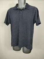 MENS ADIDAS CLIMALITE NAVY BLUE WHITE STRIPED POLO SHIRT TOP M MEDIUM