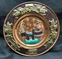 "9.5"" Vintage Painted PERUVIAN Brass & Copper Decorative Wall Plate Souvenir PERU"
