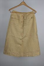 Vintage Gold Yellow Plaid Dorothy High Waist button down Skirt Handmade